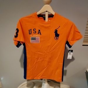 NWT boy's Ralph Lauren orange t-shirt size large